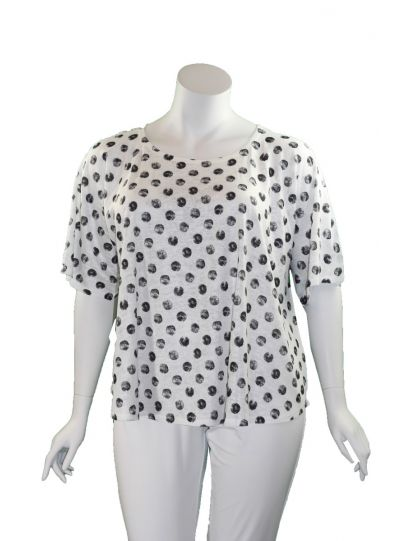 Et' Lois Plus Size White/Black Polka Dot Short Tunic C2007W-145