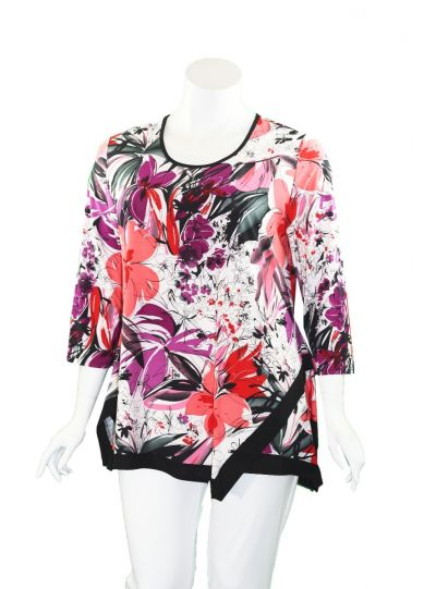 Caribe Plus Size Multi Printed Swing Tunic XC1218P06