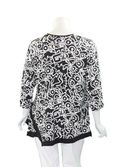 Caribe Plus Size Black/White Printed Swing Tunic XC1218P271