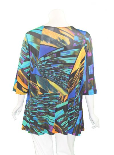 Caribe Plus Size Multi Printed 2 Pocket Tunic XC1431P226