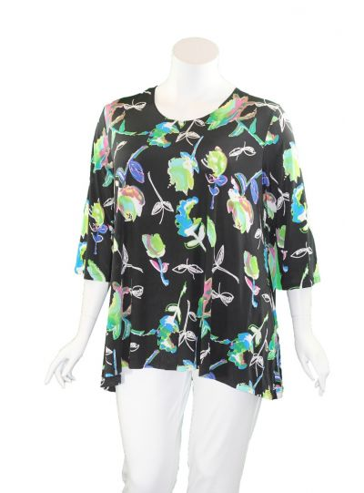 Caribe Plus Size Multi Printed 2 Pocket Tunic XC1431P251