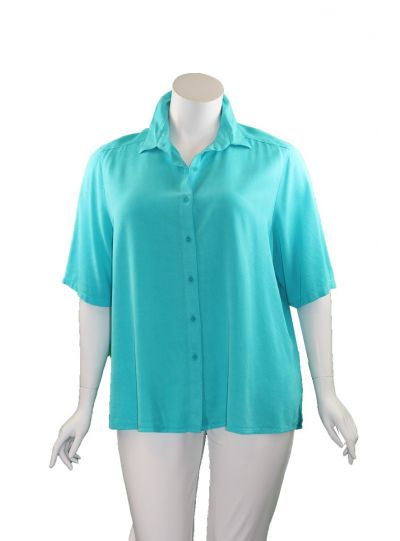Tianello Plus Size Solid Camp Shirt T786P-19
