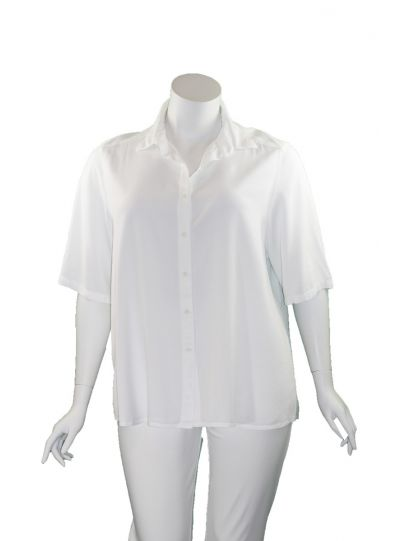 Tianello Plus Size WHI Solid Camp Shirt T786P-19
