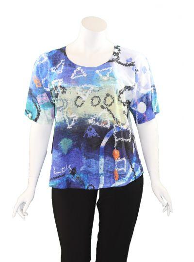 Et' Lois Plus Size Blue Tones Printed Apple Tunic C2007W-215