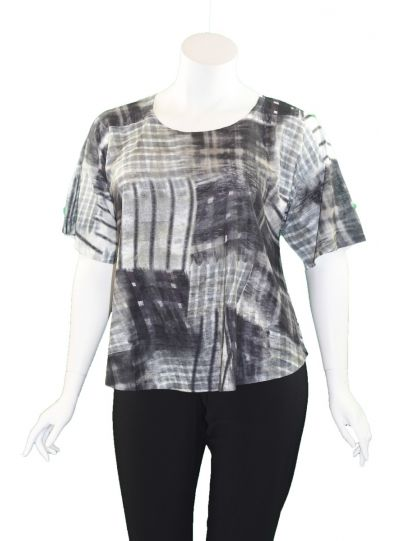 Et' Lois Plus Size Black/Tan/White Printed Apple Tunic C2007W-208