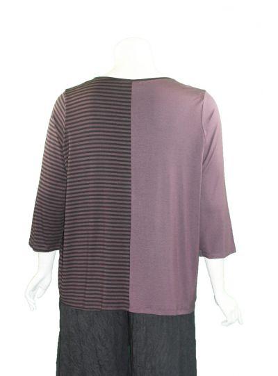 Comfy Plus Size Raisin Stripe Top M887