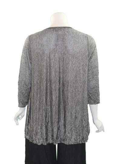 Comfy Plus Size Black/Silver Crinkle Laura 2 Pocket Tunic C640