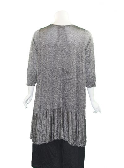 Comfy Plus Size Black/Silver Crinkle Zoey Tunic C642
