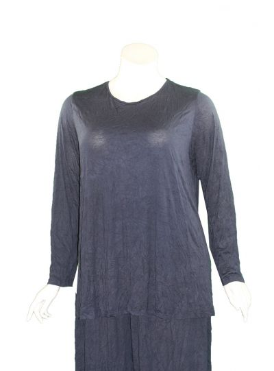 Comfy Plus Size Navy Crinkle Relaxed Basic Tee C645