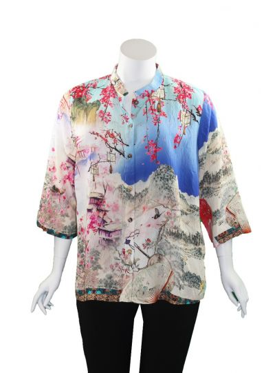 Citron Plus Size Multi Printed Asian Inspired Shirt 1213ECF