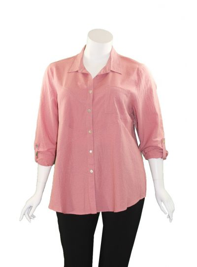 Multiples Plus Size Dark Pink Striped Button Shirt M39513BW