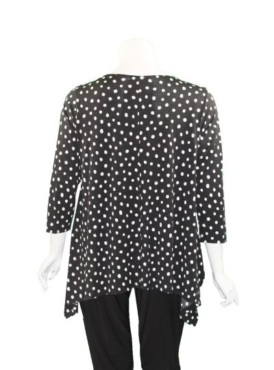 Comfy Plus Size Black/White Polka Dot Vancover Tunic M790