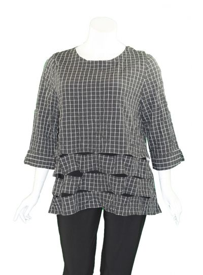 Moonlight Black/White Crushed Check with Holey Bottom Top 2949