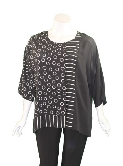 Christopher Calvin Plus Size Black/White Pullover Top 7510