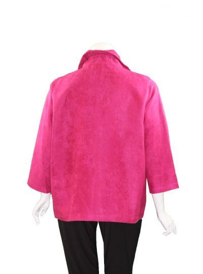 Caroline Rose Plus Size Deep Pink Modern Suede Jacket 26330W