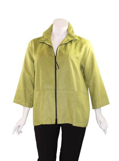 Caroline Rose Plus Size Lime Modern Suede Jacket 26330W