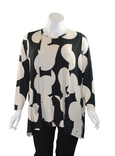 Q'Neel Black/Cream Large Dot One Pocket Tunic 83156-8481