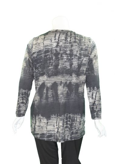 Q'Neel Plus Size Multi Printed Grey/Black Tunic 83072-8471