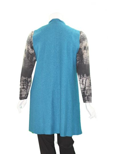 Q'Neel Plus Size Teal Long Open Front Vest 89575-8774