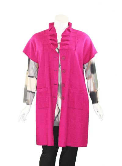 Q'Neel Plus Size Pink Wool Button Front Jacket 89533-8774