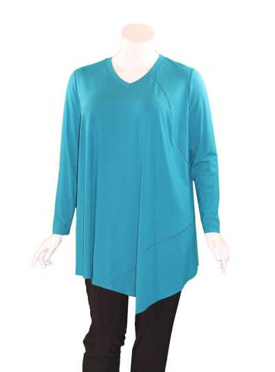Q'Neel Plus Size Teal V-Neckline Point Tunic 83157-2428