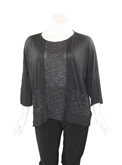 Chalet Plus Size Black/Grey Polka Dot Magdalena Top XCM82139