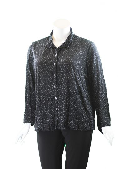 Chalet Plus Size Black/Grey Polka Dot Roxanne Shirt XCM85029