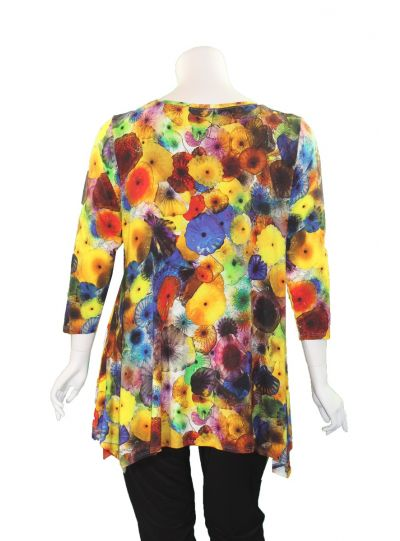 Niche Plus Size Multi Floral Printed Tunic 81502