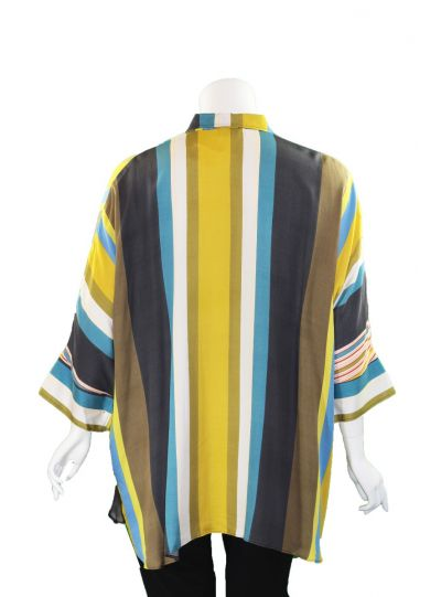 Q'Neel Plus Size Multi Striped Button Blouse 86917-8460