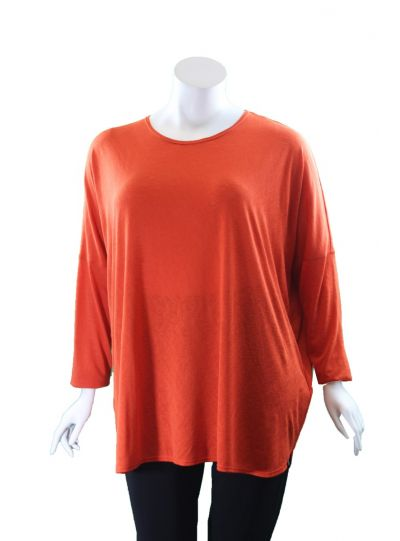 Q'Neel Plus Size Orange Over Sized Tunic 83088-8370