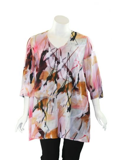 Q'Neel Plus Size Multi Printed One Pocket Tunic 83129-8484