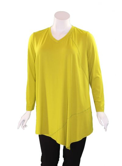 Q'Neel Plus Size Lime Green V-Neckline Long Tunic 83157-2428