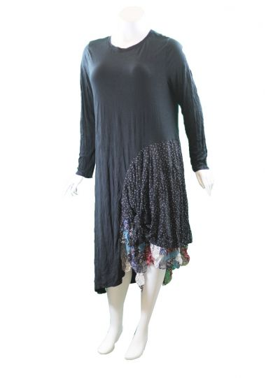 Chalet Plus Size Black Crinkle Pullover Style Dress XCM86367
