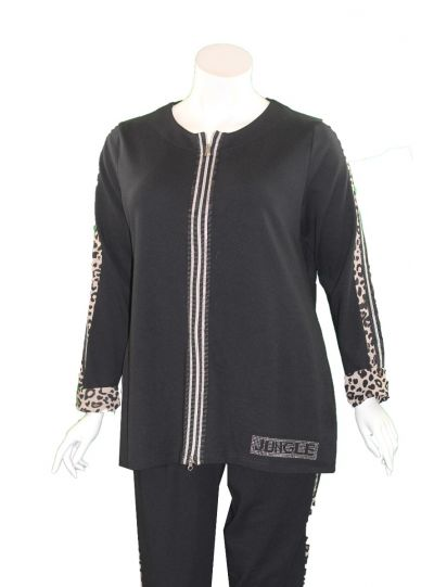 Doris Streich Plus Size Black/Leopard Zipper Sweatshirt 137-142-99