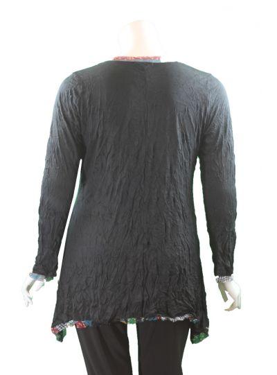 Chalet Plus Size Black Crinkle Leilani Tunic XCM83775