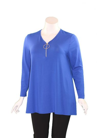 Doris Streich Plus Size Blue Silver Ring Zipper Long Tunic 497-270