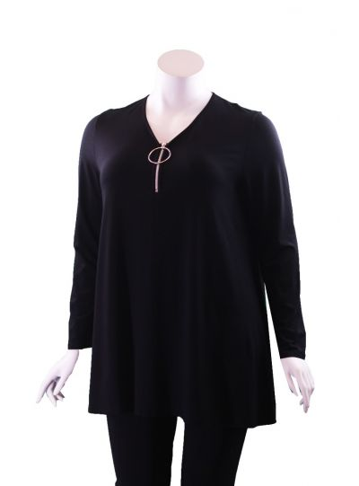 Doris Streich Plus Size Black Silver Ring Zipper Tunic 497-270