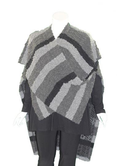 Ralston Plus Size Black/Grey Striped Lima Vest/Poncho 78581