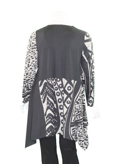 Ralston Black/Grey Printed Long Pullover Tunic 71024