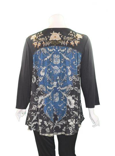 Caite Plus Size Black/Blue Floral V-Neckline Tee CTC0386