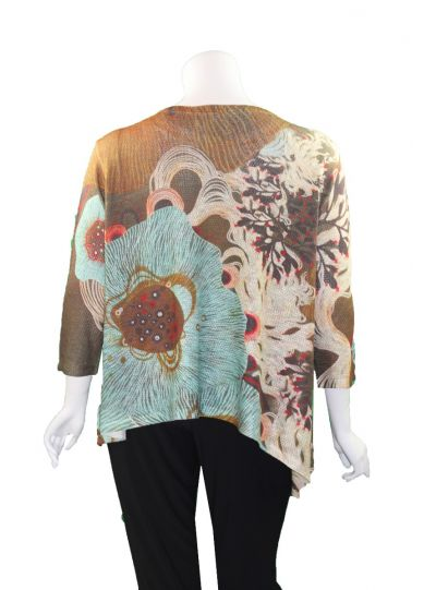 Atelier 5 Plus Size Brown/Multi Lina Top SNTU18-19FW5