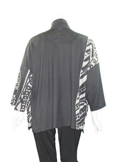 Ralston Black/Tan Leopard Dolman Sleeve Kimono Jacket 71061
