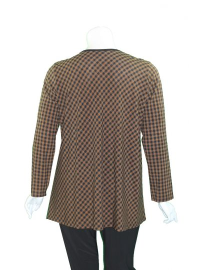 Comfy Plus Size Brown/Black Check Nuetla Top M1011