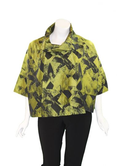 Comfy/Sum Kim Plus Size Black/Green Ava Short Jacket ME520