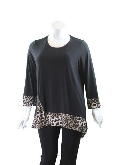Comfy/Sun Kim Plus Size Black/Leopard Vienna Tunic SK527