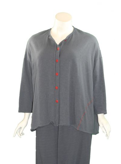 Cheyenne Plus Size Blue Grey Button Cardigan CT1030