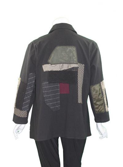 Ela Plus Size Black/Patch Work Jacket 983