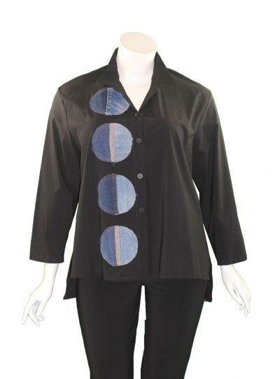 Ela Plus Size Black Circle Shirt 989