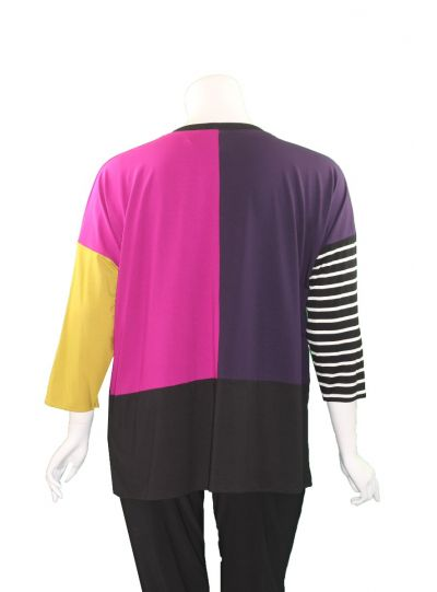 Ela Plus Size Multi Color Block Top E678