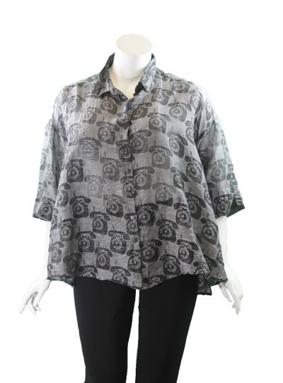 Grizas Grey Telephone Blouse 51686S192